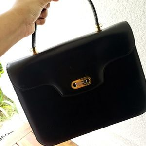 Vintage Bally top handle black leather purse